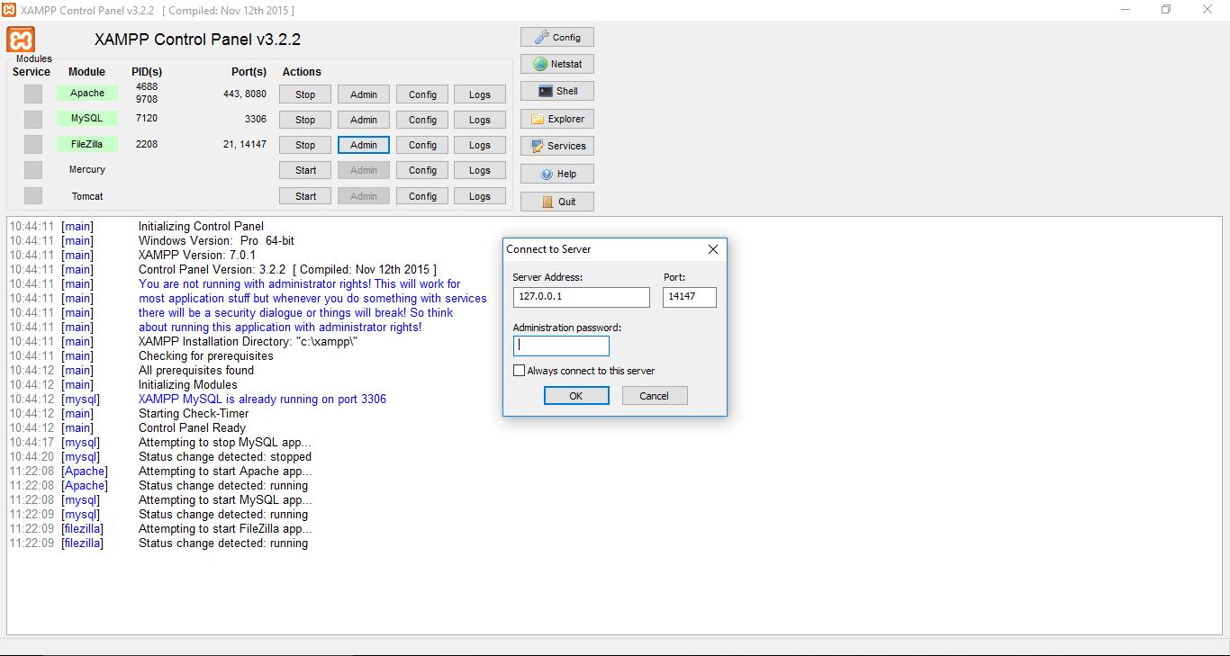 Admin FileZilla Xampp