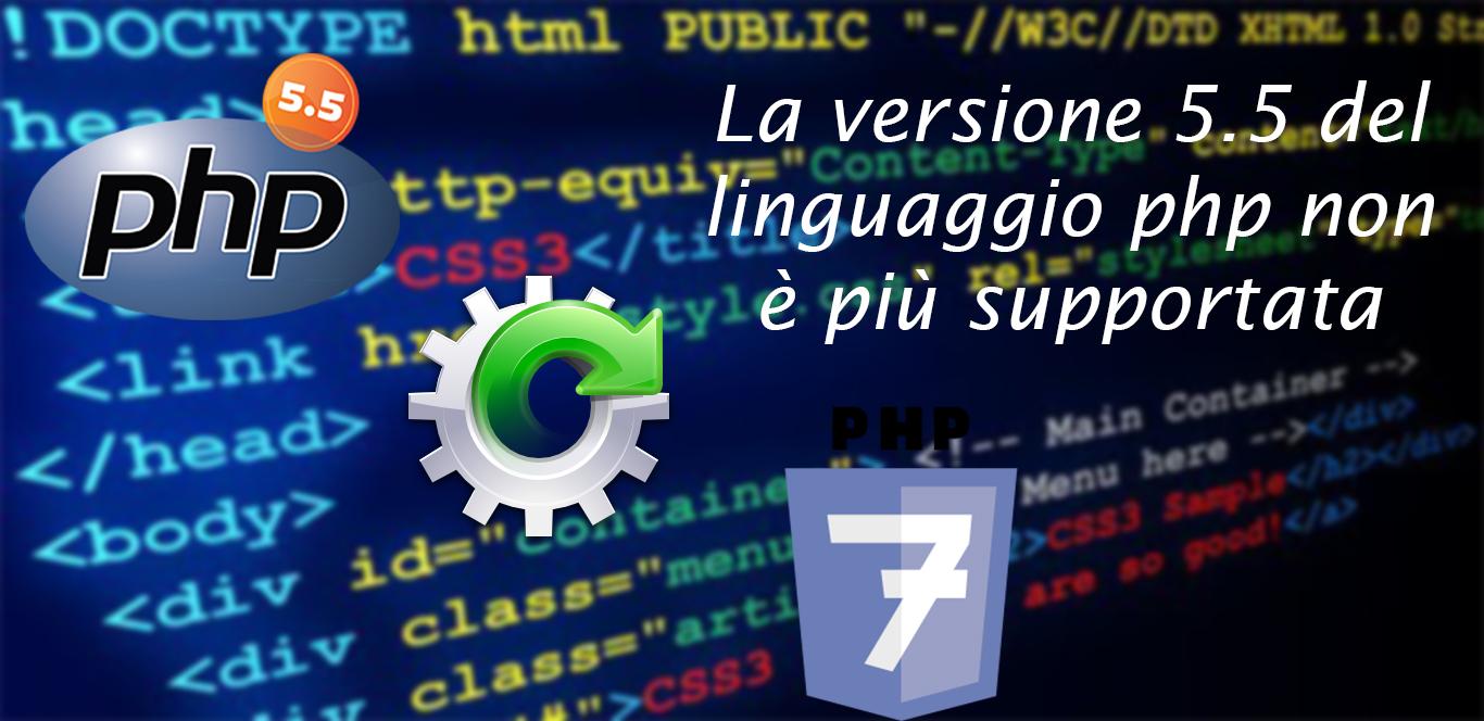 PHP 5.5 non è più supportato